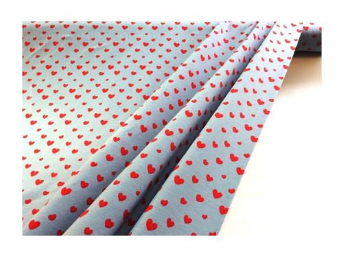 Baumwolle-Jerseystoff  Herzchen - rot/grau