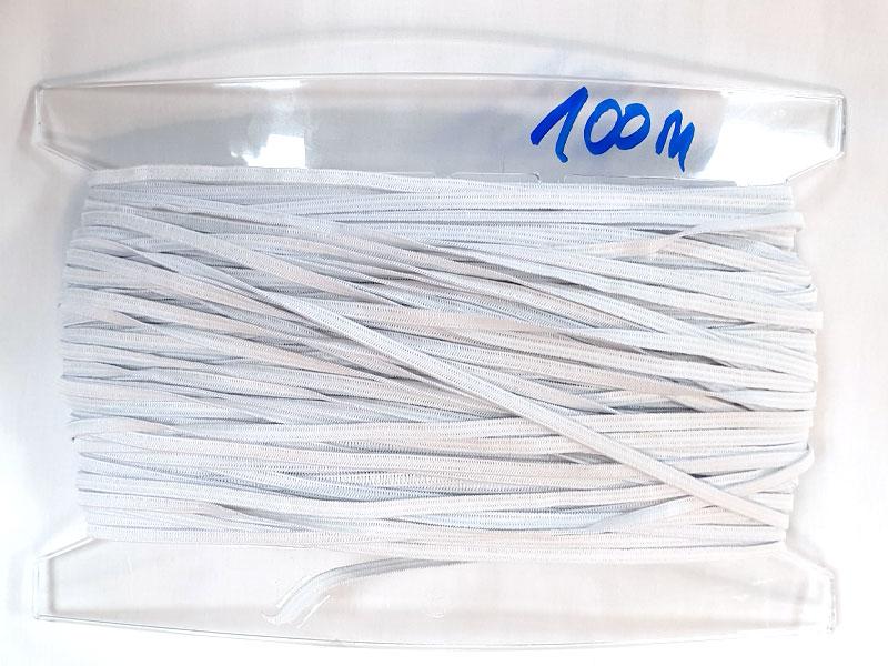 Gummiband - 5 mm, weiß, 100 m