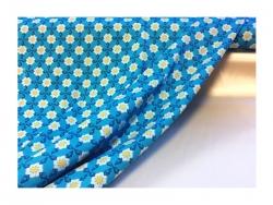 Baumwolle-Jerseystoff Blumen - blau