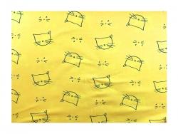Baumwolle-Jerseystoff  Katzen - gelb