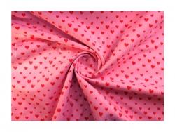 Baumwolle-Jerseystoff  Herzchen - rot/rosa