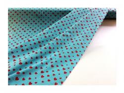 Baumwolle-Jerseystoff  Herzchen - rot/grün