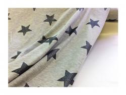 Baumwolle-Jerseystoff Sterne schwarz/grau