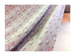 Baumwolle-Jerseystoff Tiere grau