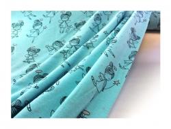 Baumwolle-Jerseystoff Abstrakt - grün/blau