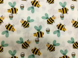 Baumwoll-Druck Bienen